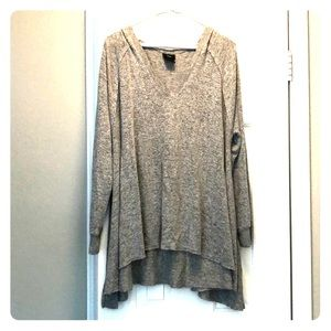 Hooded over-sized grey cozy v-neck sweater